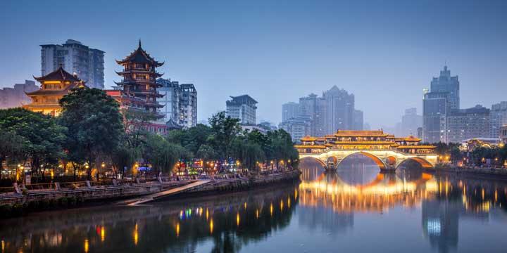 Vista sulla città di Chengdu